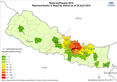 Un digital repository in nepal view document map shows the early reported number of deaths by district in nepal earthquake 2015 gumiabroncs Image collections